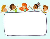 Happy and funny children stand around a large banner, poster, po royalty free stock images