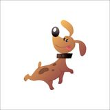 Happy funny dog. Small funny dog with the collar sticking his tongue out vector illustration