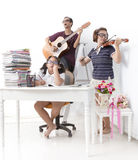 Happy and funny family activities Stock Photo