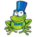 Funny frog  party. Happy Funny frog cartoon  party Stock Photos