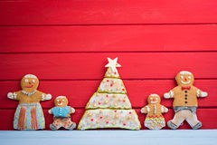 Happy funny gingerbread man family Stock Image