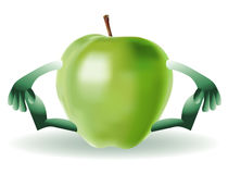 Happy Funny green apple Royalty Free Stock Photography