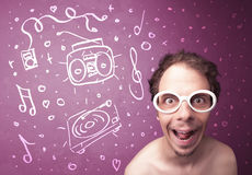 Happy funny guy with shades and hand drawn media icons Stock Images