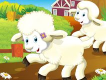 The happy - funny illustration with running sheep - drawing for children Royalty Free Stock Images