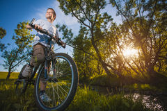 Happy funny kid on bicycle. Active Leisure Stock Photos
