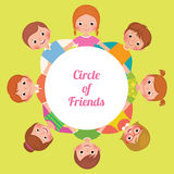 Happy funny kids, girls and boys in the circle of friends Royalty Free Stock Photos