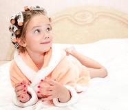 Happy funny little girl with manicure Stock Image