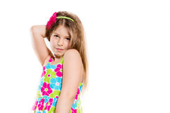Happy funny little girl smiling and copy space Royalty Free Stock Photos