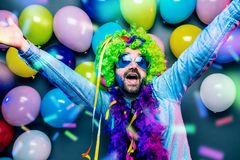 Happy Funny man at carnival Party dancing man royalty free stock images