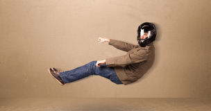 Happy funny man driving a flying car concept Royalty Free Stock Images