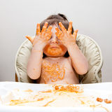Happy funny messy eater Royalty Free Stock Images