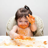 Happy funny messy eater royalty free stock photography