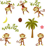 Happy funny monkeys set. Royalty Free Stock Photography