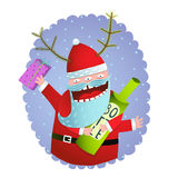 Happy Funny Monster Santa Claus with present and bottle Christmas Greeting Card Royalty Free Stock Image