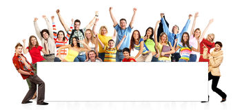 Happy funny people. Isolated over white background royalty free stock photos