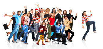 Happy funny people. Isolated over white background royalty free stock photo