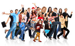 Happy funny people. Isolated over white background royalty free stock images