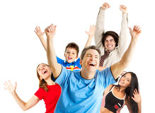 Happy funny people. Isolated over white background stock images