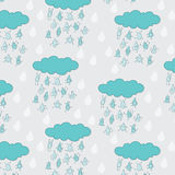 Happy funny raindrops seamless pattern Stock Images