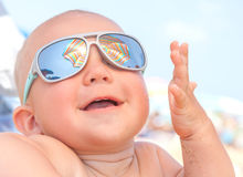 Happy funny smiling cute baby stock photo