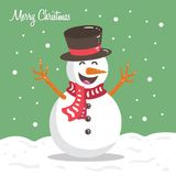 Happy Funny Snowman Winter Christmas Cartoon Character  Illustration. Image and Vector Royalty Free Stock Image