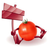 Happy Funny Tomato with wooden sign Royalty Free Stock Image