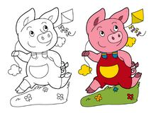 Cartoon scene with pig running and playing holding kite - on white background with coloring page Royalty Free Stock Photos