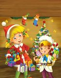 Cartoon scene with christmas elf standing near christmas tree Royalty Free Stock Image