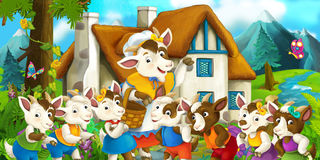 Happy and funny traditional farm scene. Happy and funny traditional illustration for children - scene for different usage