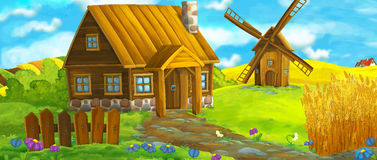 Happy and funny traditional farm scene - stage for different usage stock illustration