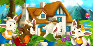 Happy and funny traditional farm scene - stage for different usage. Happy and funny traditional illustration for children - scene for different usage stock illustration