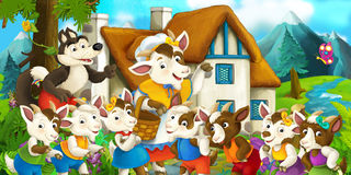 Happy and funny traditional farm scene - stage for different usage. Happy and funny traditional illustration for children - scene for different usage vector illustration