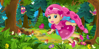 Cartoon background of fairy flying in the forest. Happy and funny traditional illustration for children - scene for different usage royalty free illustration