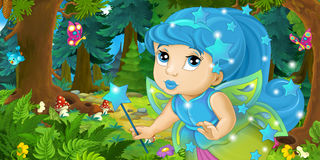 Cartoon background of fairy flying in the forest Royalty Free Stock Images