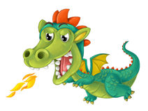Cartoon happy and funny dragon isolated Royalty Free Stock Photography