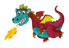 Cartoon happy and funny dragon isolated Royalty Free Stock Images