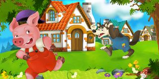 Cartoon scene pig farmer near traditional village and angry wolf is going in his direction Royalty Free Stock Photo