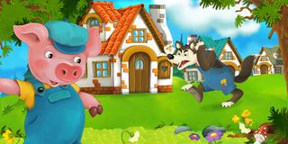 Cartoon scene pig farmer near traditional village and angry wolf is going in his direction Stock Image