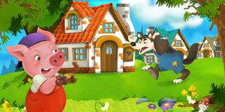 Cartoon scene pig farmer near traditional village and angry wolf is going in his direction Royalty Free Stock Image