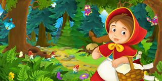 Cartoon scene with young girl walking through the forest Stock Images
