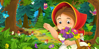 Cartoon scene with young girl walking through the forest Royalty Free Stock Photography