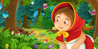 Cartoon scene with young girl walking through the forest Royalty Free Stock Photo