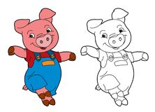 Cartoon  young pig in work outfit looking / isolated coloring page Royalty Free Stock Image