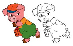 Cartoon  young pig in work outfit looking / isolated coloring page Royalty Free Stock Photography