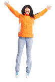 Happy funny woman. royalty free stock photography