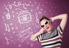 Happy funny woman with shades and hand drawn media icons Royalty Free Stock Image
