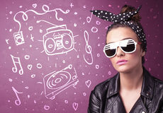 Happy funny woman with shades and hand drawn media icons Royalty Free Stock Photography