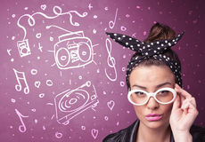 Happy funny woman with shades and hand drawn media icons Stock Images