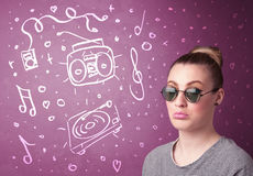 Happy funny woman with shades and hand drawn media icons Stock Photo