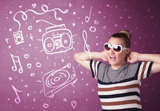Happy funny woman with shades and hand drawn media icons. Concept on background Stock Image